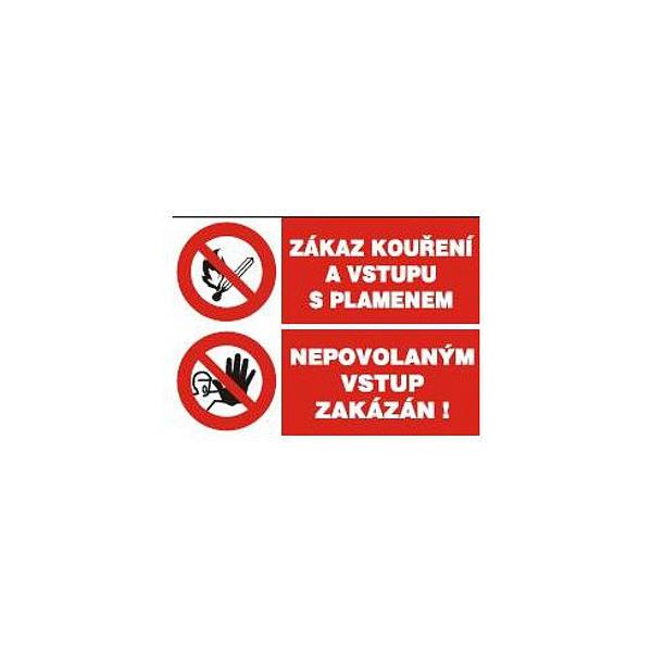 Zákaz kouř.a vstupu s plam.-Nepov.vstup zak.210x148mm - samolepka