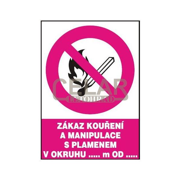 Zákaz kouř.a man.s plam.v okruhu...m od...210x297mm - plast