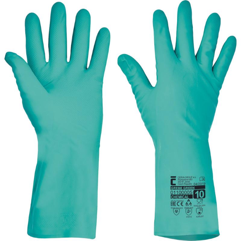 GREBE rukavice nitril 33cm/0,38mm zelené