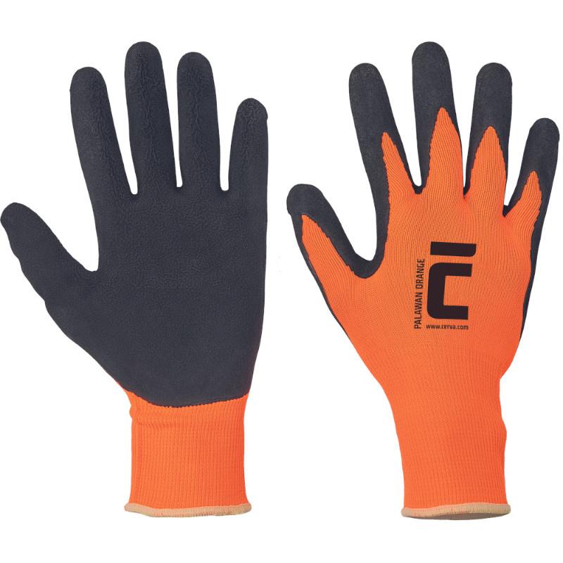 PALAWAN ORANGE rukavice nylon s latexem