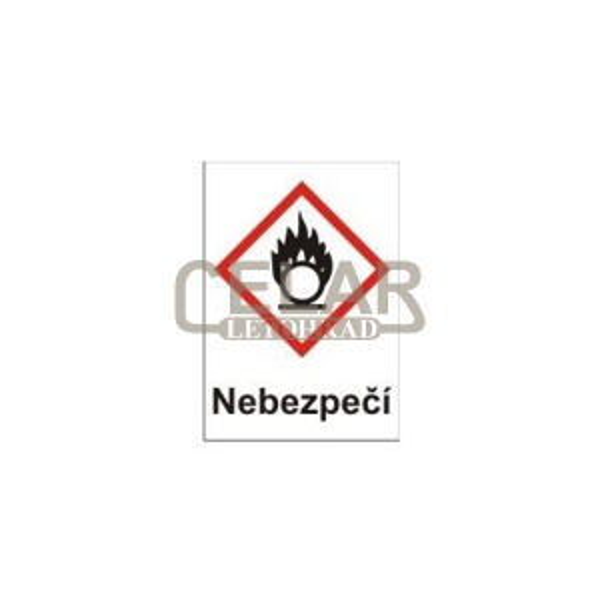 Oxidující – nebezpečí (GHS03) 105x148 mm tabulka samolepka