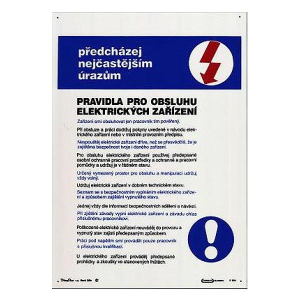 Pravidla pro obsluhu elektrických zařízení 297x420mm - plast