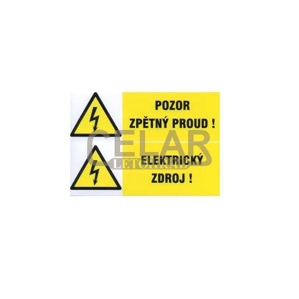 Pozor zpětný proud-Elektrický zdroj 210x148mm-samolepka