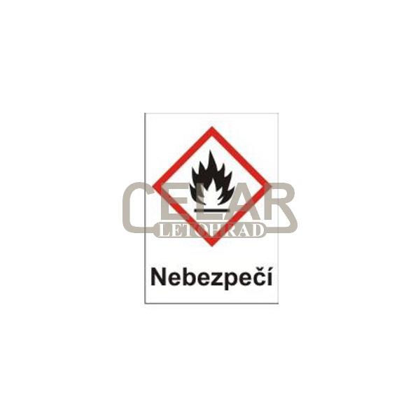 Hořlavé – nebezpečí (GHS02) 105x148 mm tabulka samolepka