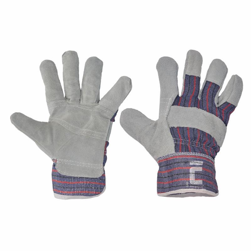 GULL rukavice kombinované z hovězí štípenky šedé