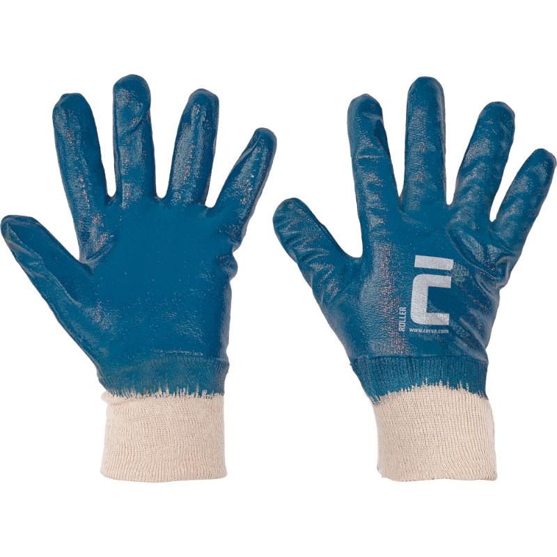 ROLLER rukavice celomáčené nitril modré