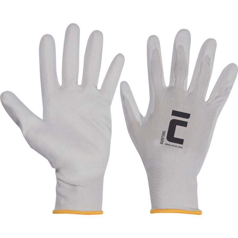 BUNTING  ruk.nylon bílé dlaň a prsty polyuretan