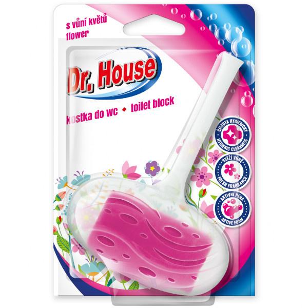 DR.HOUSE Kostka do WC s držákem 40g - KVĚTINY