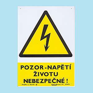 Pozor - napětí životu nebezpečné ! 210x297 mm - plast