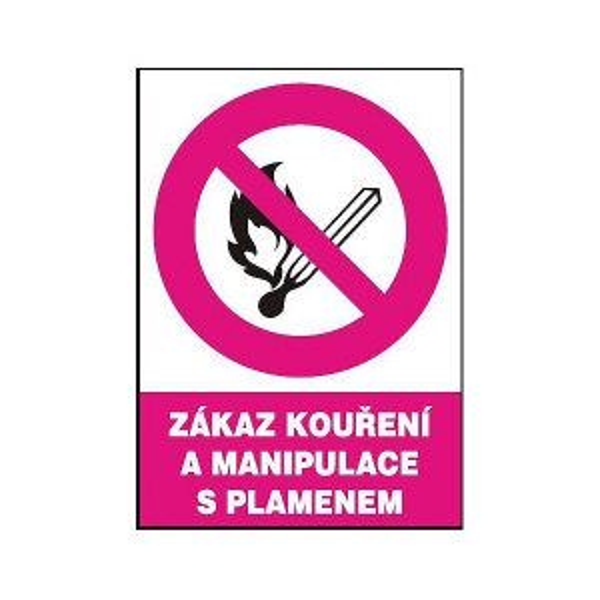 Zákaz kouření a manipulace s plamenem v okruhu 148x210mm - samolepka