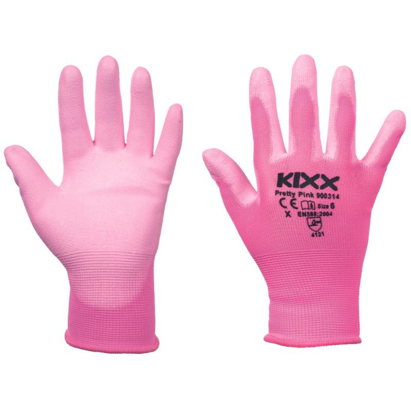 PRETTY PINK KIXX rukavice nylonové - růžová