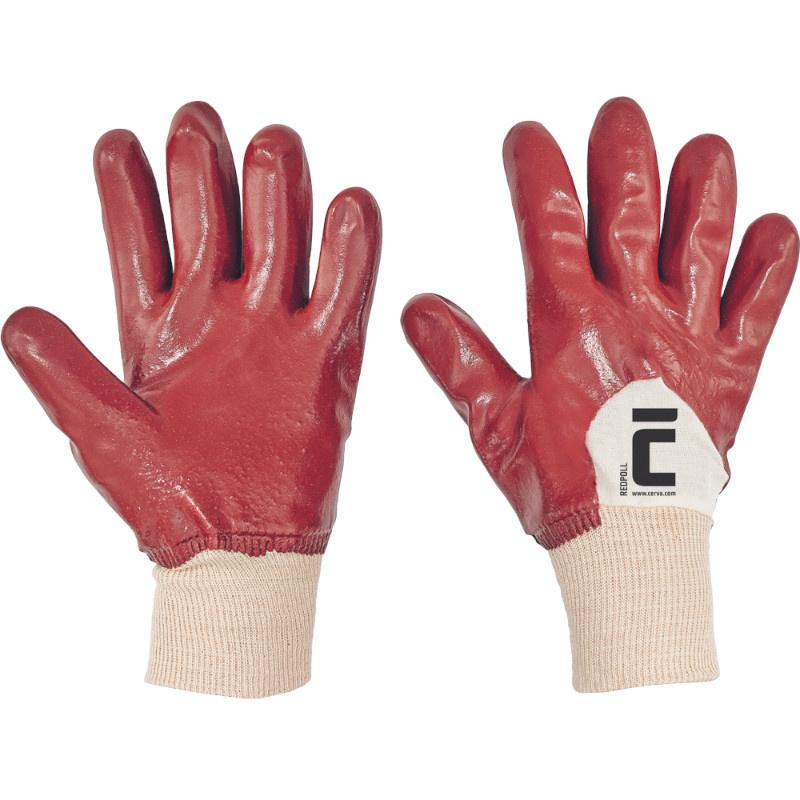 REDPOL rukavice polomáčené PVC červené - 10