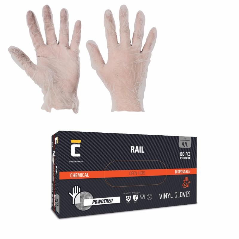 RAIL  rukavice jednorázové vinyl pudrované