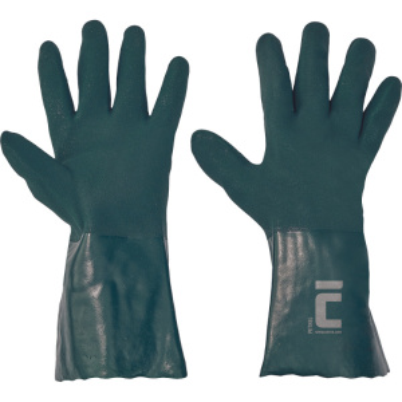 PETREL rukavice máčené PVC protiskluz.35cm - 10