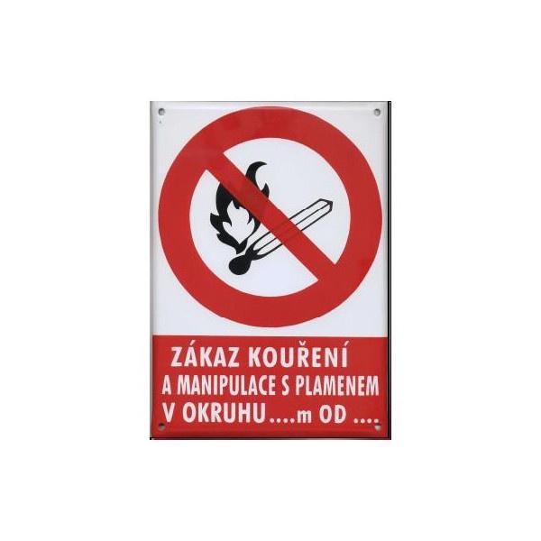 Zákaz kouř.man.s plam.v okruhu 297x210mm - smalt.tab.