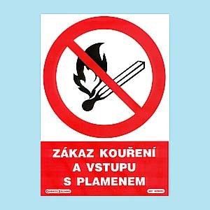 Zákaz kouření a vstupu s plamenem 210x297 mm - plast