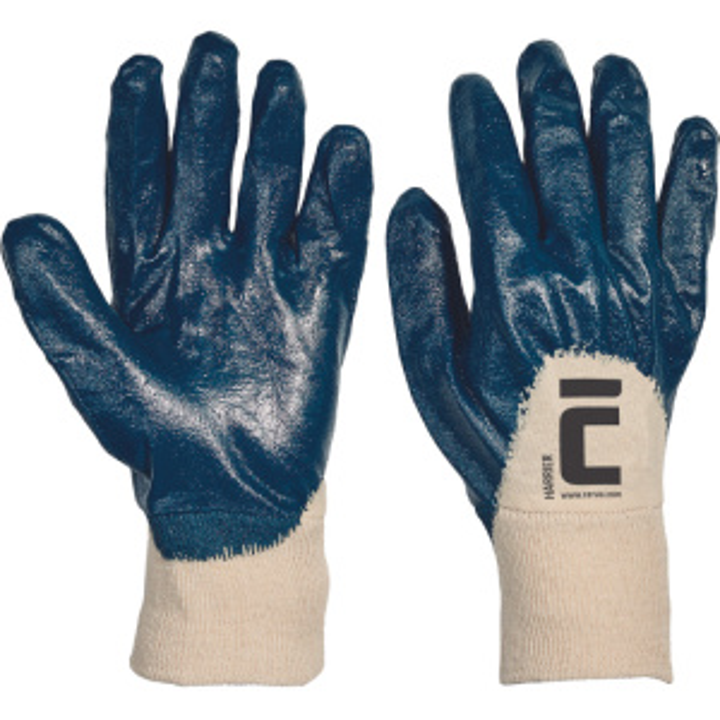 HARRIER rukavice polomáčené nitril modré
