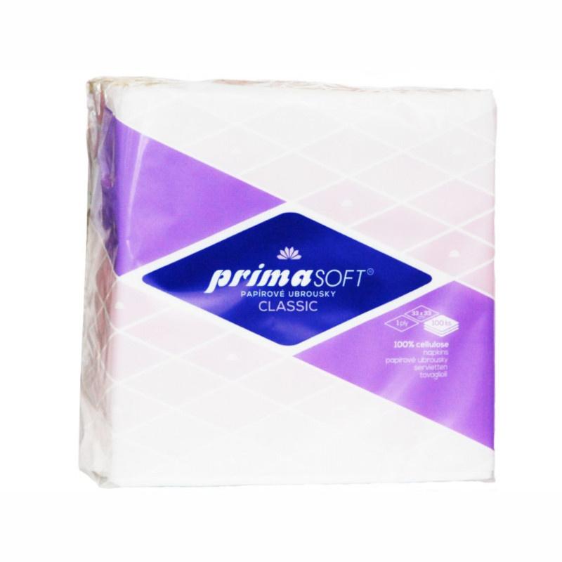 PRIMA SOFT ubrousky 33x33cm 1-vr.bílé (100ks)