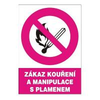 Zákaz kouření a manipulace s plamenem 210x297 mm - plast