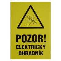 POZOR! Elektrický ohradník 210x297 mm - plast