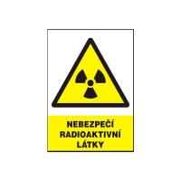 Nebezpečí radioaktivní látky 210x297mm - plast