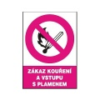 Zákaz kouření a vstupu s plamenem 148x210mm - samolepka