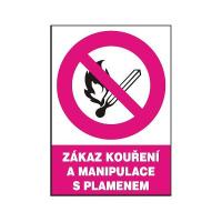 Zákaz kouření a manipulace s plamenem 210x297mm - samolepka