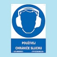Používej chrániče sluchu 210x297 mm - plast